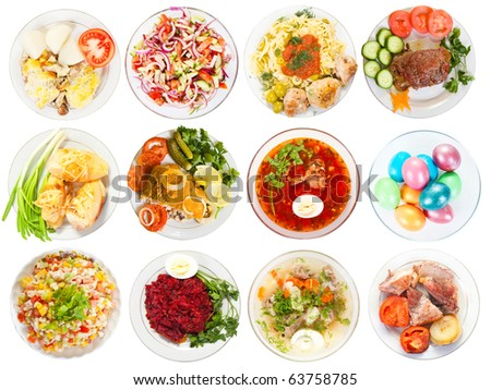 Set of 12 plate with tasty food. Isolated over white background with clipping path - stock photo