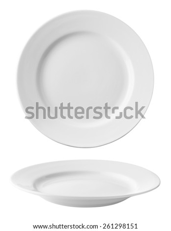 set of plates isolated on white background with clipping path - stock photo