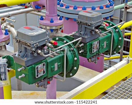 Set of pneumatically actuated valves - stock photo
