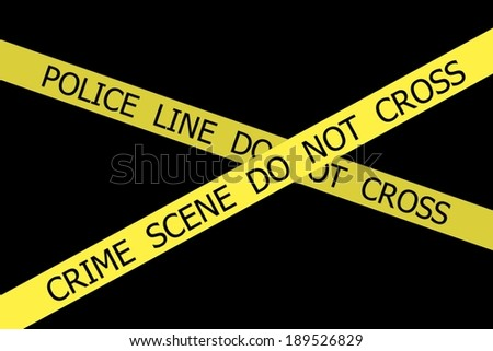 Set of Police tapes POLICE LINE DO NOT CROSS and CRIME SCENE DO NOT CROSS on black background - stock photo