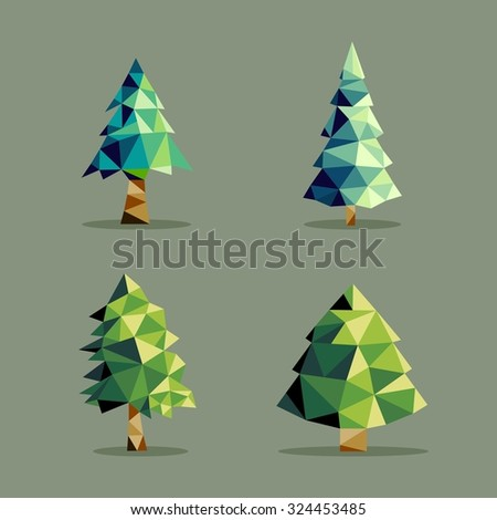 Set of polygonal origami pine tree icon illustration. Ideal for web icon, ecology brochure and botany book cover.  - stock photo