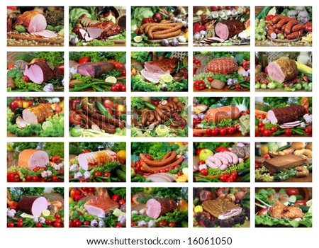set of 25 pork products - stock photo