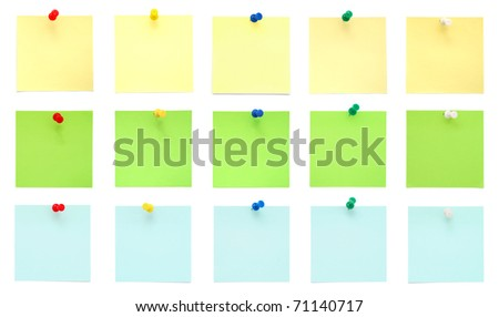 Set of Post-It Notes with Push Pins - stock photo