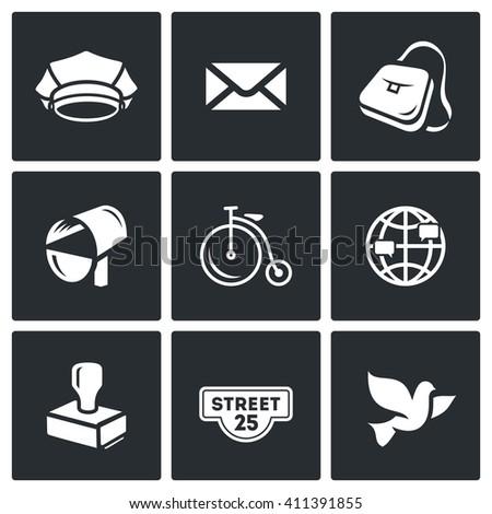 Set of Post Office Icons. Postman, Letter, Delivery, Transport, International, Sending, Address, Carrier Pigeon. Cap, Envelope, Bag, Mailbox, Bicycle, Globe, Stamp, Address label, Bird - stock photo