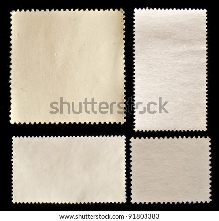 Set of post stamps reverse side isolated on black - stock photo