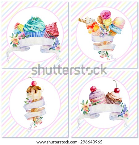 Set of postcards with watercolor illustrations of ice cream, cupcakes and macaroons. Ribbon banner for your text. Watercolor illustration. - stock photo