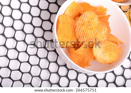 Set of potato chips close-up - stock photo