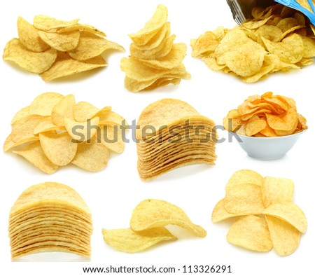 Set of potato chips heaps on a white background - stock photo