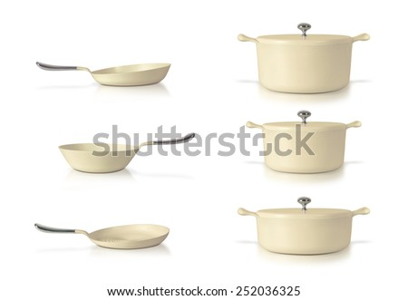 Set of pots and pans isolated on white background - stock photo