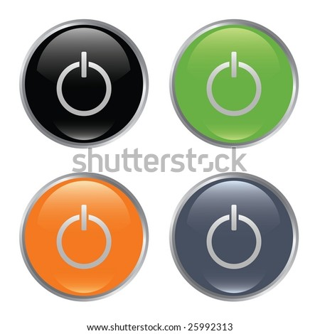Set of power buttons - stock photo