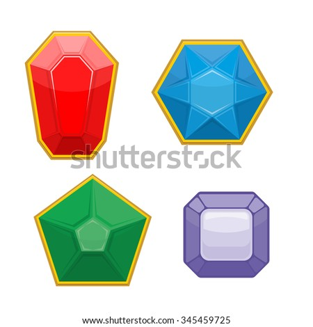 Set of precious stones. Emerald and Ruby. Sapphire and Amethyst. Stones for jewelry.  illustration Diamonds different forms with highlights and shadows. - stock photo