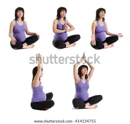 Set of Pregnant Yoga Woman. Isolated on white background.  - stock photo