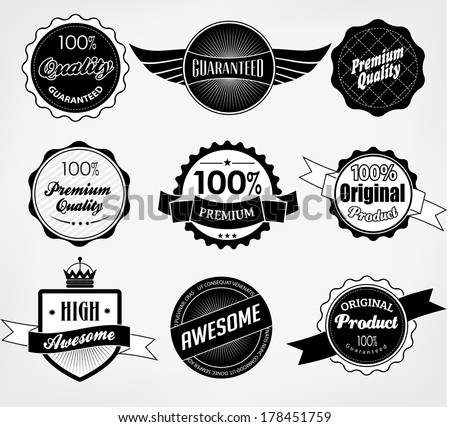 Set of Premium Quality and Guarantee Labels and sticker with retro vintage styled design