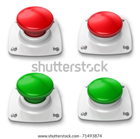 Set of pressed and depressed buttons - stock photo