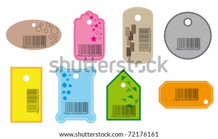 Set of price tags in various color. JPG version. - stock photo