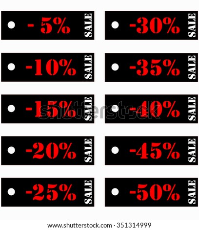 set of price tags with discounts