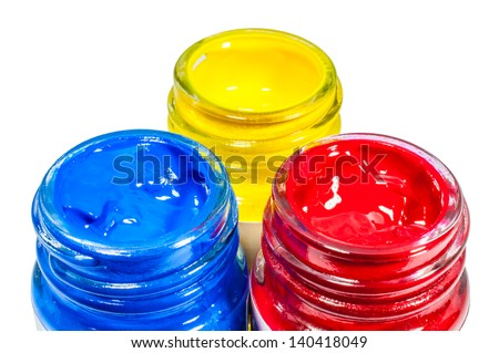 Set of primary color in small three glass bottle on isolate white background - stock photo