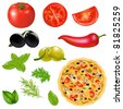 Set Of Products With Pizza, Isolated On White Background - stock photo