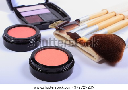 Set of professional brushes for makeup and cosmetics for woman, womanly cosmetics accessories