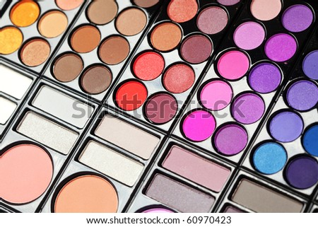 Set of professional colorful eyeshadows - stock photo