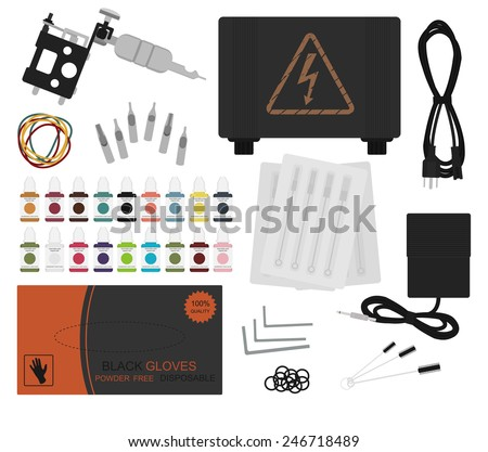 Set of professional tattoo equipment: tattoo machine, power supply, cord, rubber bands, different type grips, needles, footswitch, pack of black gloves, grommet. Color no outline illustration  - stock photo