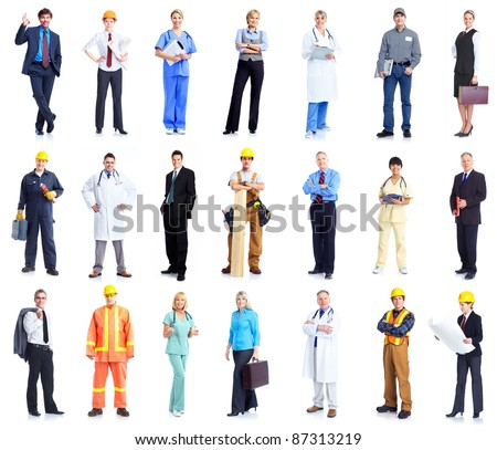 Set of professional workers business people. Isolated over white background. - stock photo