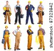 Set of professional workers people. Contractor isolated over white background. - stock photo