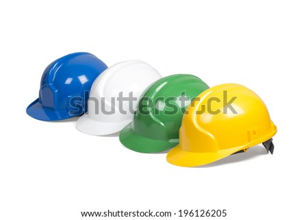 Set of protection helmets isolated over white with clipping path. - stock photo