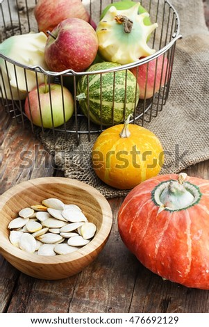 Set of pumpkins with seeds from the autumn harvest