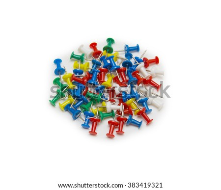 Set of push pins in different colors, isolated on white background.