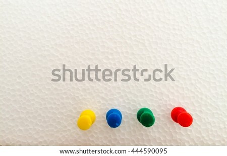 Set of push pins in different colors, vintage color - stock photo
