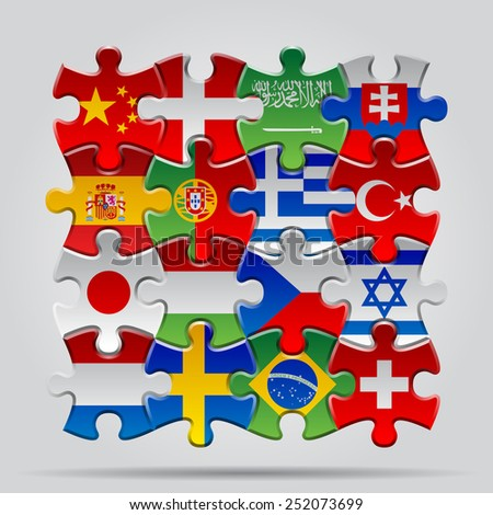 Set of puzzle with World flags. Contain the Clipping Path of every object - stock photo