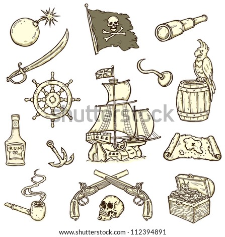 Set of quality images on a pirate theme isolated on white background - stock photo