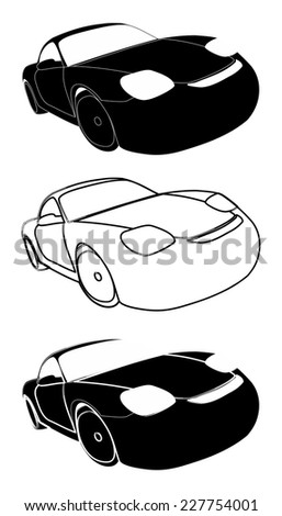 Set of racing cars black on white - Stock Illustration - stock photo