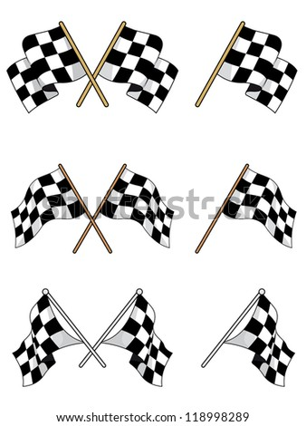 Set of racing checkered flags for sports design, such a logo template. Vector version also available in gallery - stock photo