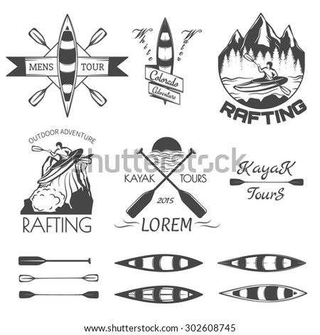 Set of rafting labels,badges and design elements. - stock photo