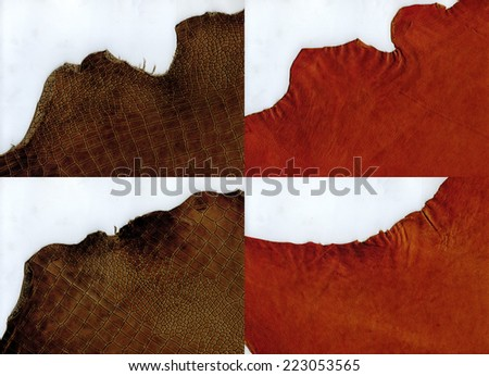 Set of ragged edges terracotta suede and brown crocodile  leather texture - stock photo