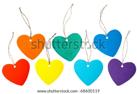 Set of rainbow colored paper hearts with rope isolated on white - stock photo
