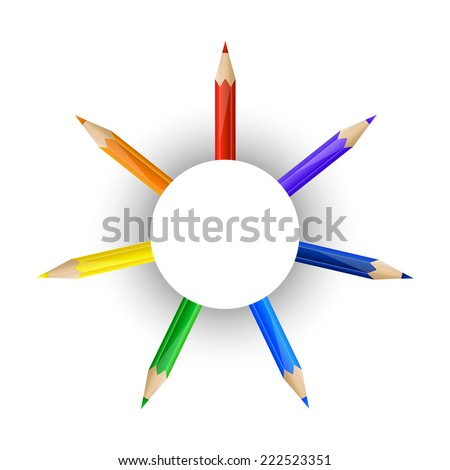 Set of rainbow pencils and round paper banner - stock photo