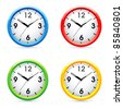Set of raster color wall clock . - stock photo