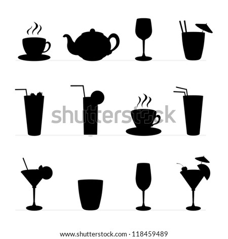 Set of raster illustration of different drinks and cocktails,tableware. Black silhouette . - stock photo