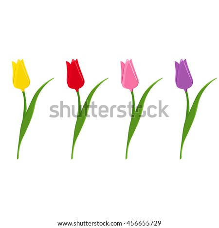 Set of raster tulips. Flat icons of red, pink, yellow and purple tulips. Spring flowers. - stock photo