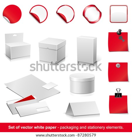 Set of raster white and red paper - packaging and stationery elements. - stock photo