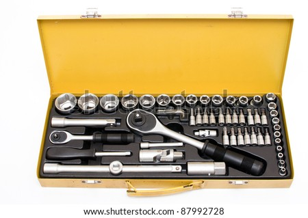 set of ratchet spanner on white background - stock photo