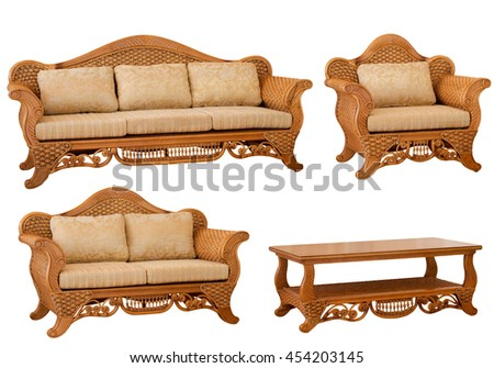 Set of rattan sofa, armchairs and coffee table isolated on white background - stock photo