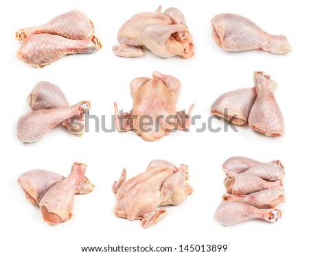 Set of raw chicken legs and whole chicken isolated on white background. - stock photo