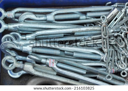set of real used stainless spanners - stock photo