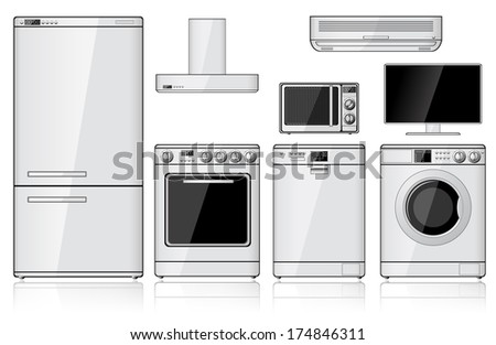 Set of realistic household appliances isolated on white. Raster version of the illustration. - stock photo