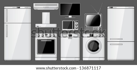 Set of realistic household appliances. Raster version of the illustration.