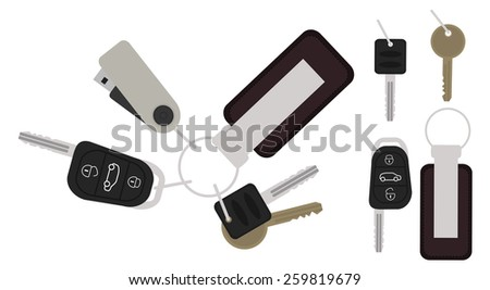 Set of realistic keys icons: remote car starter, usb flash drive, leather trinket, group of house keys. Color raster no outline clip art illustration isolated on white - stock photo